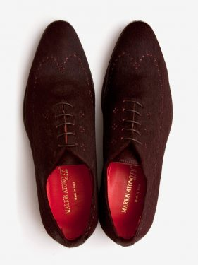 'Hassan' Pony Hair Oxford Shoe Burgundy